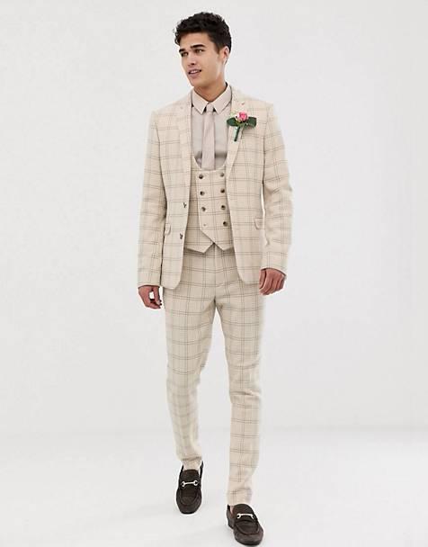 ASOS DESIGN wedding super skinny suit in cream wool blend houndstooth