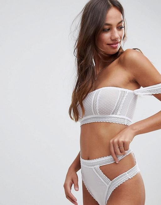 in trim lace white highwaist ASOS pant amp; spot Willow bra amp; bardot DESIGN set 7xwq6fg