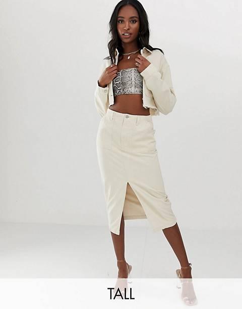 Missguided Tall denim jacket & skirt in ecru co-ord