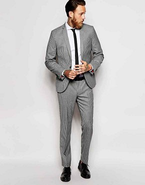 Noose & Monkey Grey Mini Check Suit in Skinny Fit