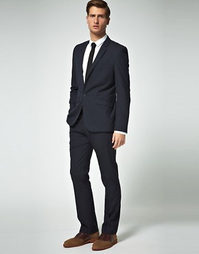 Image 1 ofASOS Slim Fit Dark Navy Suit