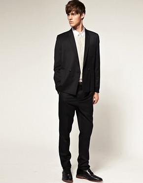 Image 1 ofASOS Slim Fit Trim Black Suit