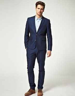 Image 1 ofASOS Slim Fit Suit in Blue Herringbone