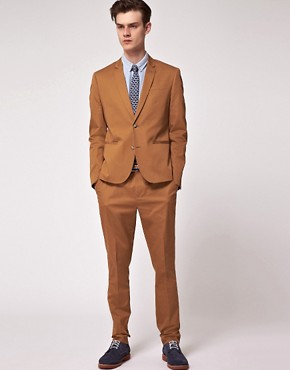 Image 1 ofASOS Slim Fit Suit in Tobacco