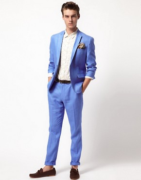 Image 1 ofASOS Slim Fit Suit in Linen
