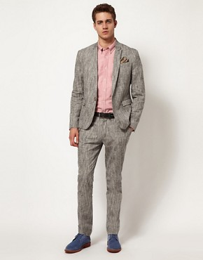 Image 1 ofASOS Slim Fit Suit in Stone Linen
