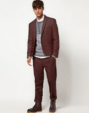 Image 1 ofASOS Skinny Fit Suit in Berry