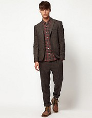 ASOS Slim Fit Herringbone Suit in Brown