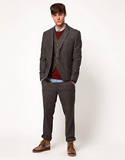 ASOS Slim Fit Suit in Grey Herringbone