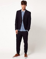 ASOS Slim Fit Suit in Blue Fleck Herringbone 