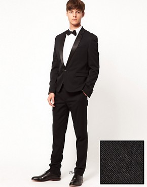 Image 1 ofASOS Skinny Fit Tuxedo Suit in Black