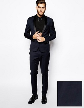 Image 1 ofASOS Skinny Fit Tuxedo in Navy