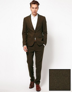 Image 1 ofASOS Skinny Fit Suit in Brown