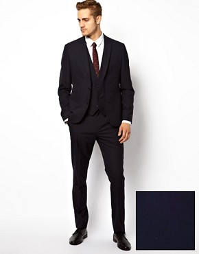 Image 1 ofASOS Slim Fit Suit in Navy