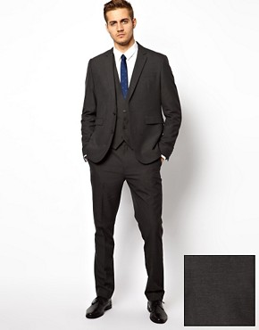 Image 1 ofASOS Slim Fit Suit in Charcoal