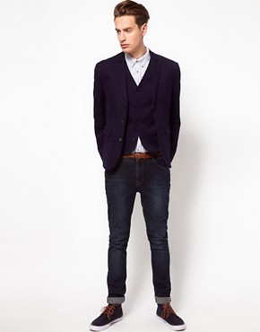 Image 1 ofASOS Blazer and Waistcoat in Navy