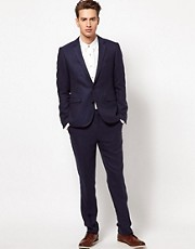 ASOS Slim Fit Blue Suit in Herringbone
