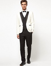 ASOS Slim Fit Tuxedo Suit in Black and White