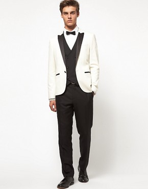 Image 1 ofASOS Slim Fit Tuxedo Suit in Black and White
