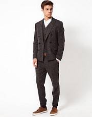 ASOS Slim Fit Suit in Charcoal Donegal
