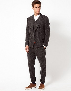 Image 1 ofASOS Slim Fit Suit in Charcoal Donegal 