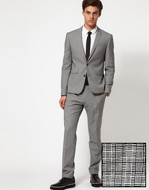 Image 1 ofASOS Skinny Fit Suit in Geo Design 