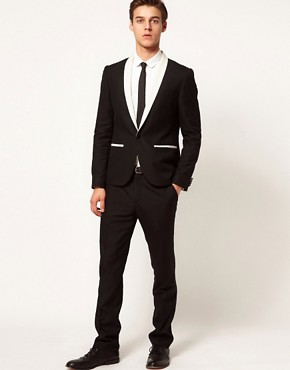 Image 1 ofASOS Slim Fit Tuxedo in Black with White Trim
