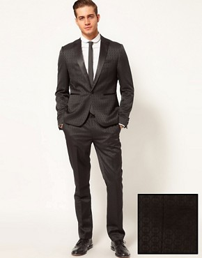 Image 1 ofASOS Slim Fit Tuxedo Suit in Jacquard