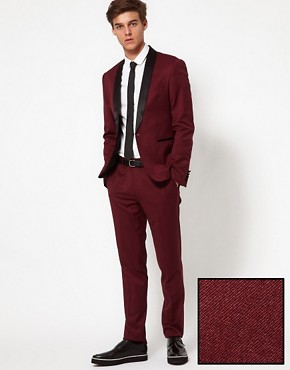 Image 1 of ASOS Skinny Fit Tuxedo in Burgundy