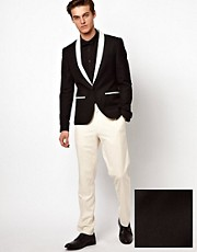 ASOS Slim Fit Tuxedo Suit Black Jacket White Pants
