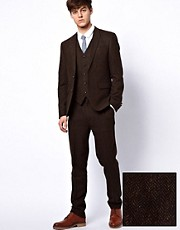 ASOS Slim Fit Suit Jacket in Brown Herringbone 