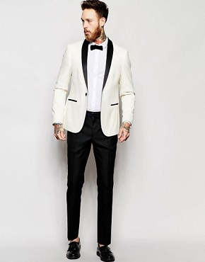 Image 1 of ASOS Slim Fit Tuxedo Suit White Jacket Black Pant
