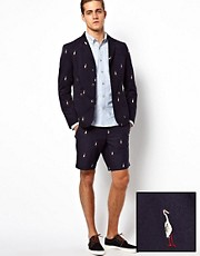 ASOS Slim Fit Blazer and Short With Embroidery 