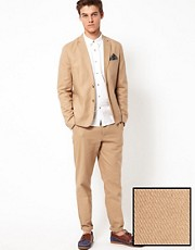 ASOS Slim Fit Cotton Suit in Stone