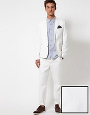 Traje de algodn de corte slim en blanco de ASOS
