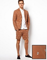 ASOS Slim Fit Blazer and Short in Embroidered Paisley 