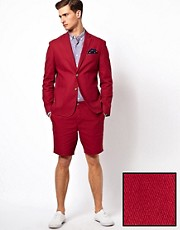 ASOS Slim Fit Cotton Suit in Burgundy