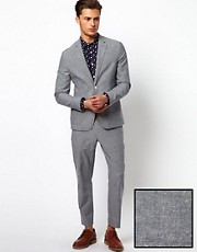 ASOS Slim Fit Cotton Suit in Grey