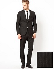 Traje de corte slim con raya diplomtica fina de ASOS