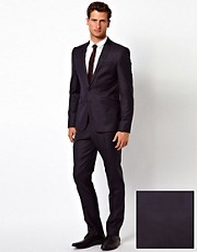 ASOS - Abito slim fit blu navy in 100% lana