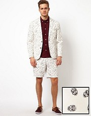 ASOS Slim Fit Blazer and Short With Sugar Skull Print 