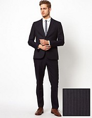 ASOS Slim Fit Suit in Navy Pinstripe