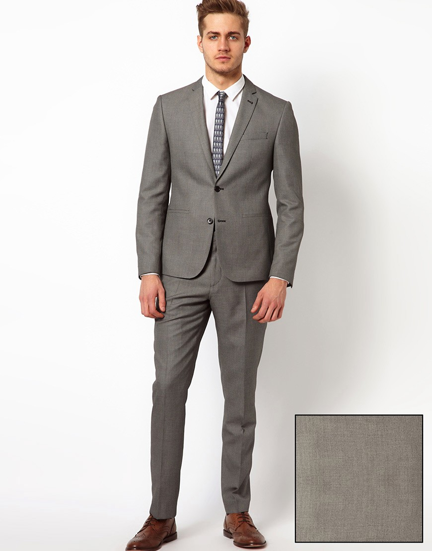 Image 1 of ASOS Slim FIt Suit In Grey Birdseye