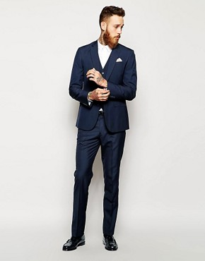 ASOS Slim Fit Suit Navy Pindot