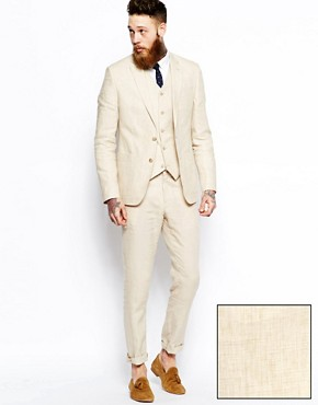 asos slim fit suit in beige linen at asos. Black Bedroom Furniture Sets. Home Design Ideas