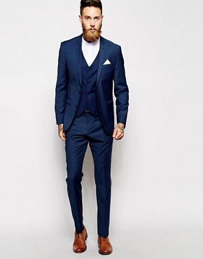 ASOS Skinny Fit Suit In Navy Wool Mix