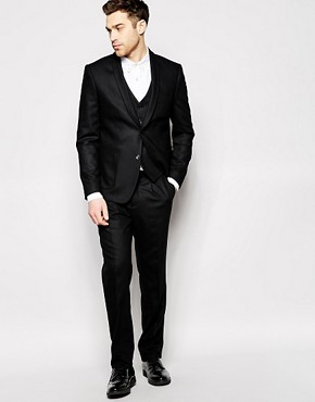 Peter Werth Black Premium Wool Suit With Shawl Lapel in Slim Fit