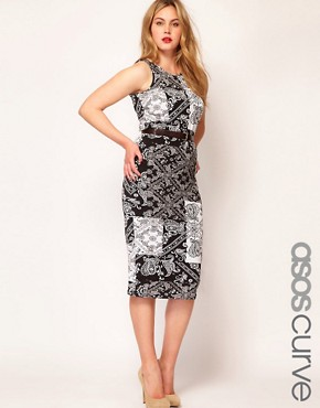 Image 1 of ASOS CURVE Midi Bodycon Dress In Bandana Print