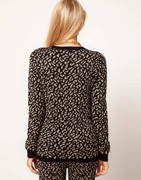 Image 2 of ASOS Jumper In Metallic Leopard