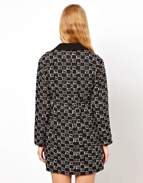 Image 2 of ASOS Square Mono Belted Mac
